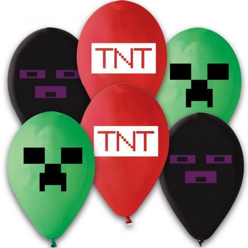 Latexové balonky TNT Minecraft 6 ks