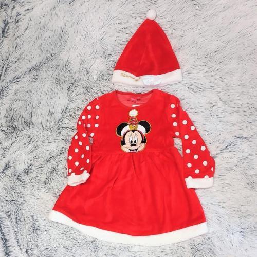 Minnie červené dívčí šaty s čepičkou 116
