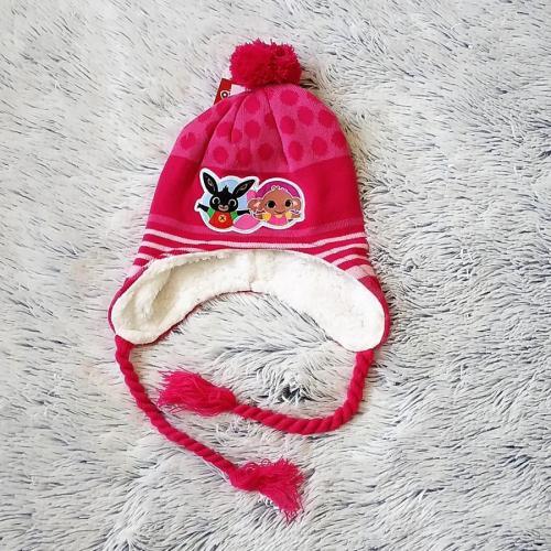 Peru čepice králíček Bing tm. růžová 52