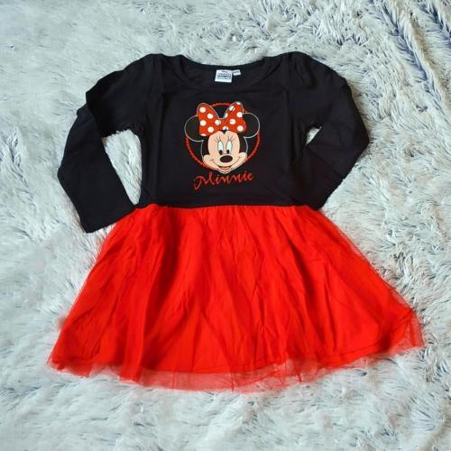 Minnie červené dívčí šaty s tylovou sukní 110/116