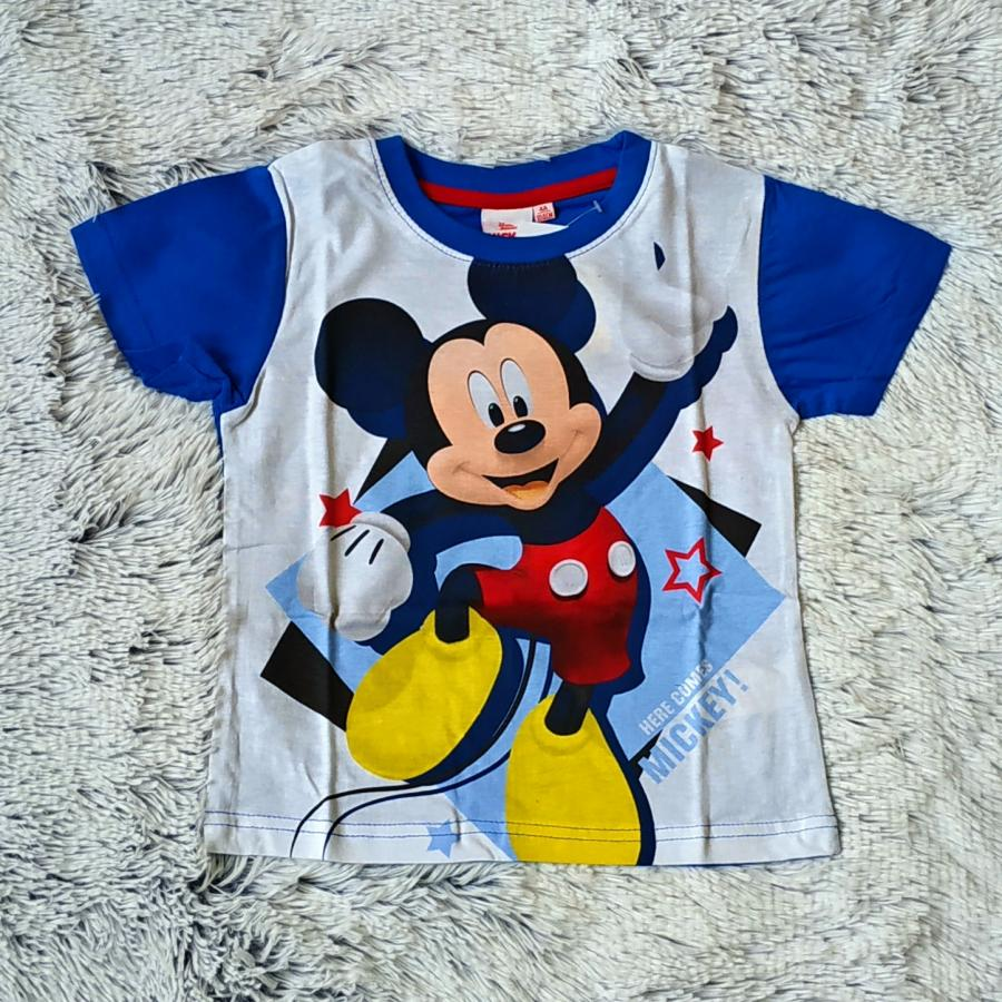 Tričko Mickey světle modro-bílé 116