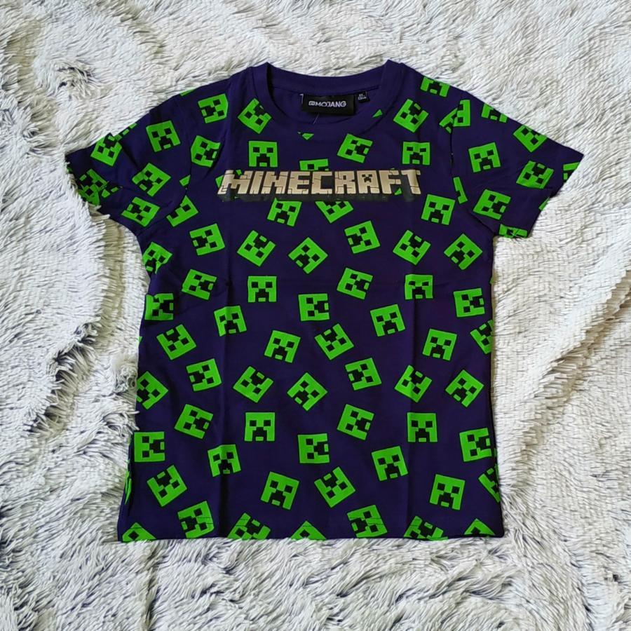 Minecraft tričko modro-zelené 140