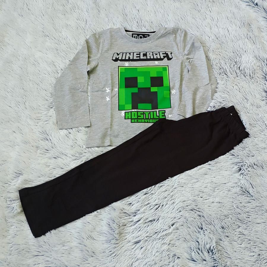 Minecraft pyžamo dlouhé šedo-černé 116