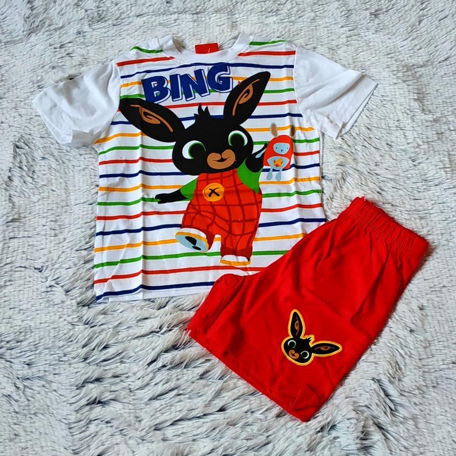 Letní pyžamo Bing bílo-červené proužek 104