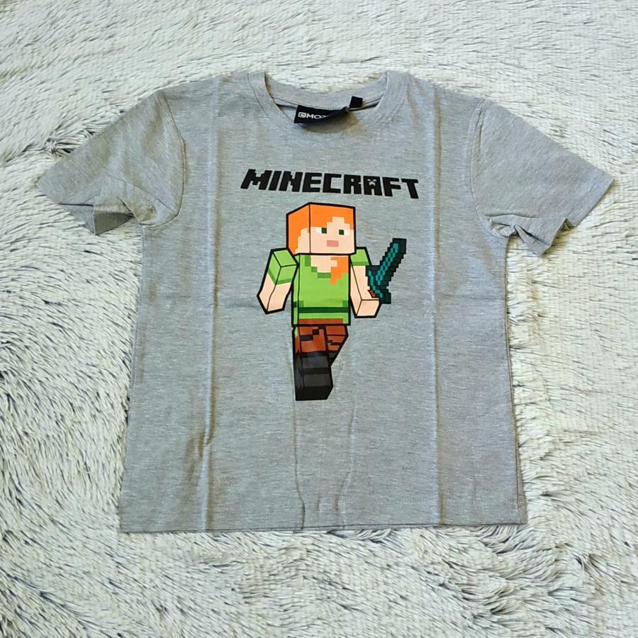 Minecraft tričko šedé 134