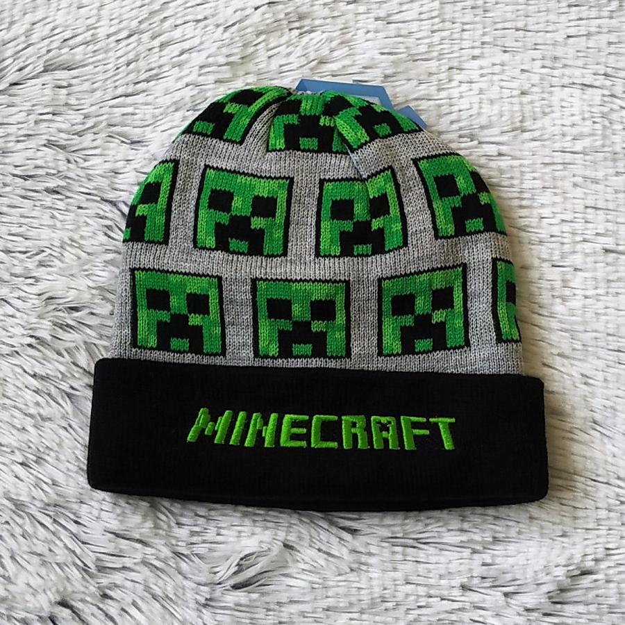 Minecraft zimní čepice šedá 54
