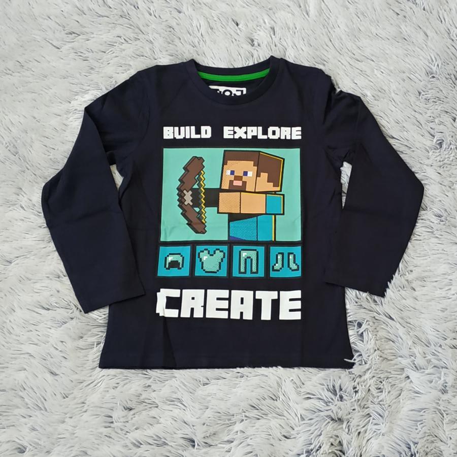Minecraft tričko tm. modré Create 128