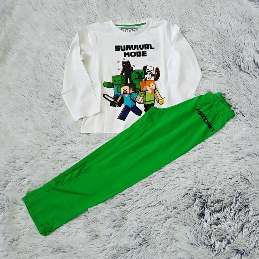 Minecraft pyžamo dlouhé  zeleno-bílé 140