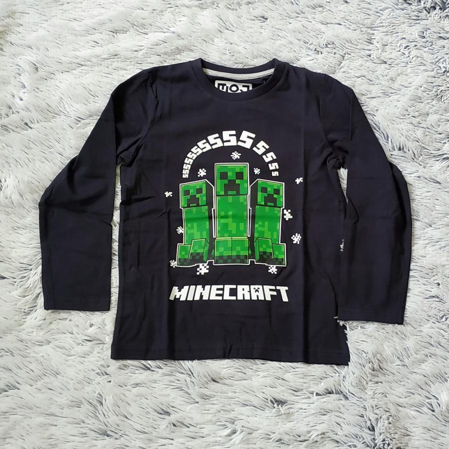 Minecraft tričko tm. modré 140