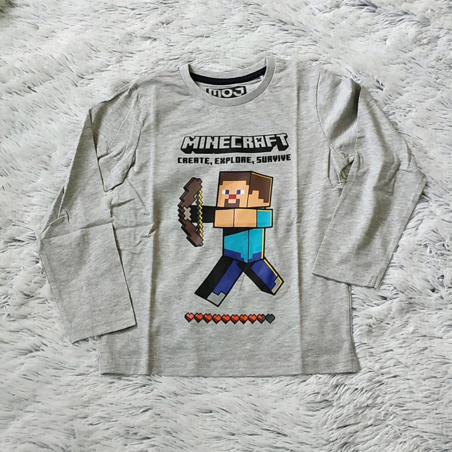 Minecraft tričko šedé 140
